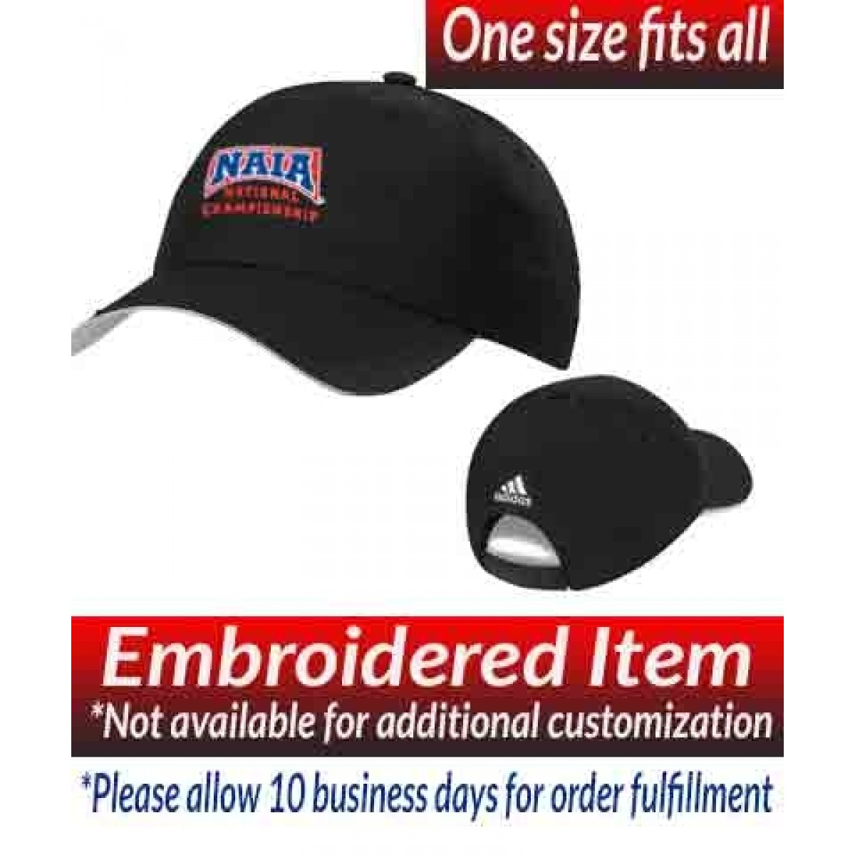 Adidas Performance Max Relaxed Cap Black  with NAIA National Championship Logo