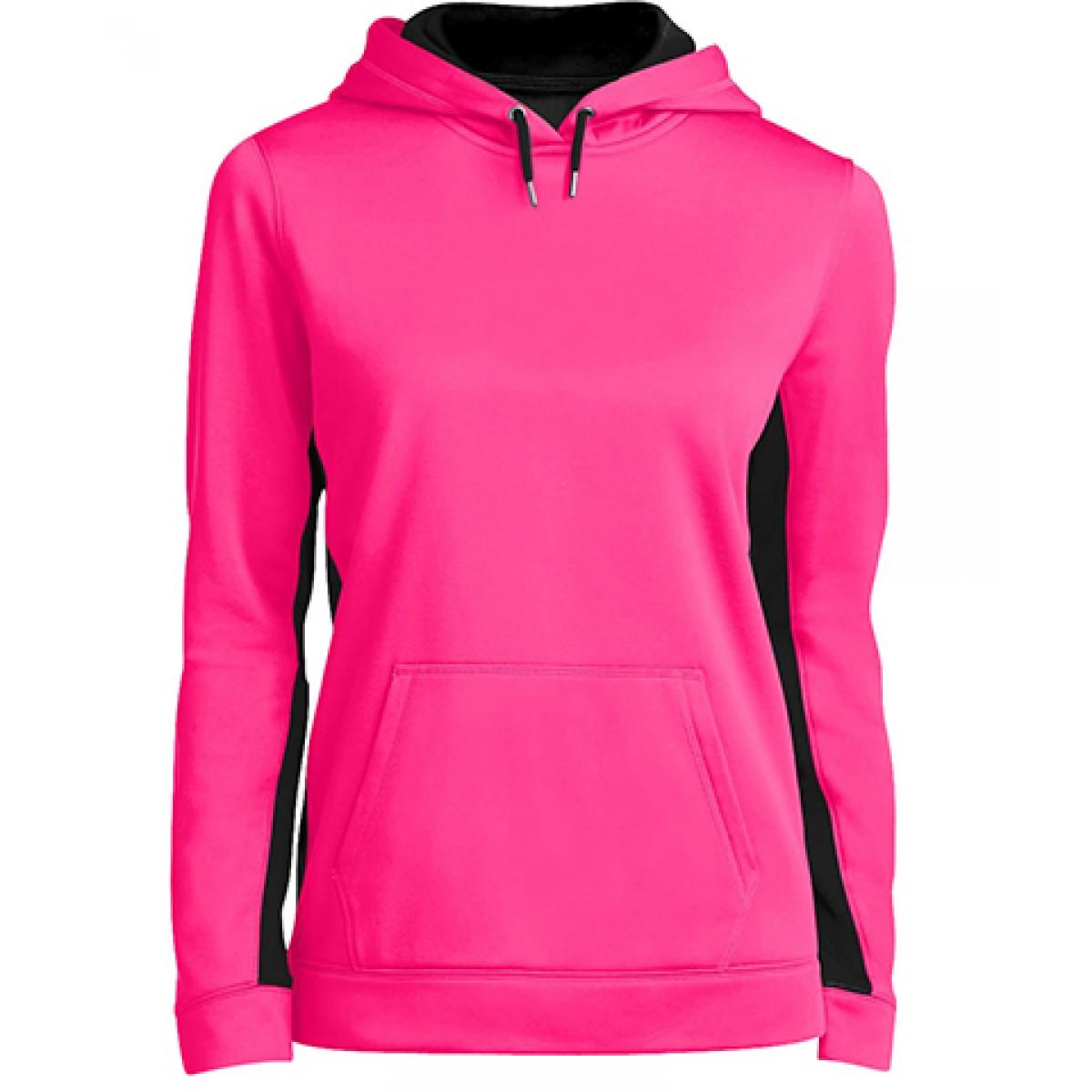 Ladies Colorblock Hooded Pullover-Neon Pink Black-XL