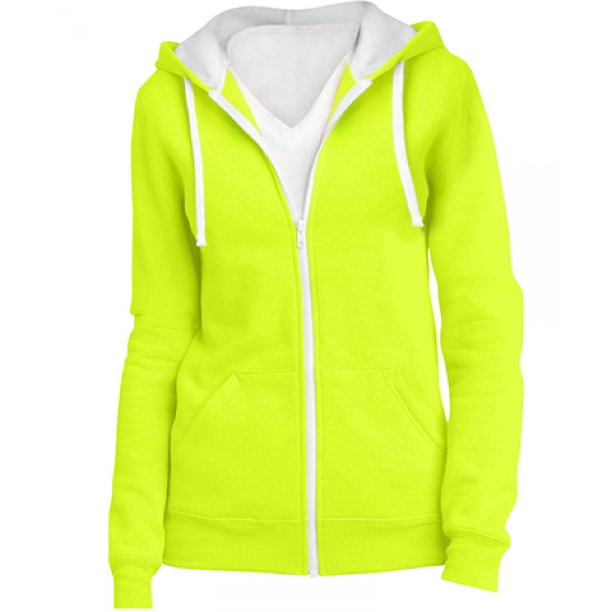 Juniors Full-Zip Hoodie-Safety Green-S