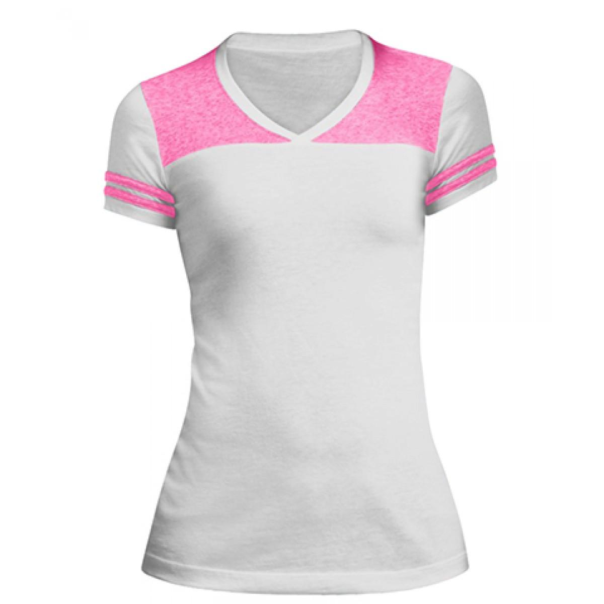 Juniors Varsity V-Neck Tee-White/Pink-M
