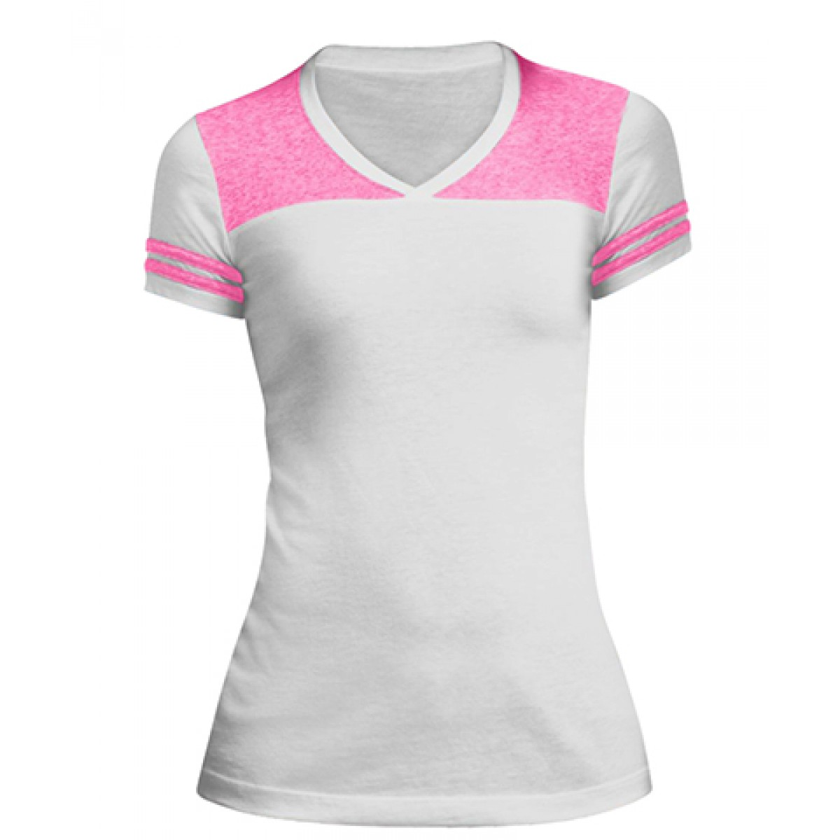 Juniors Varsity V-Neck Tee-White/Pink-L