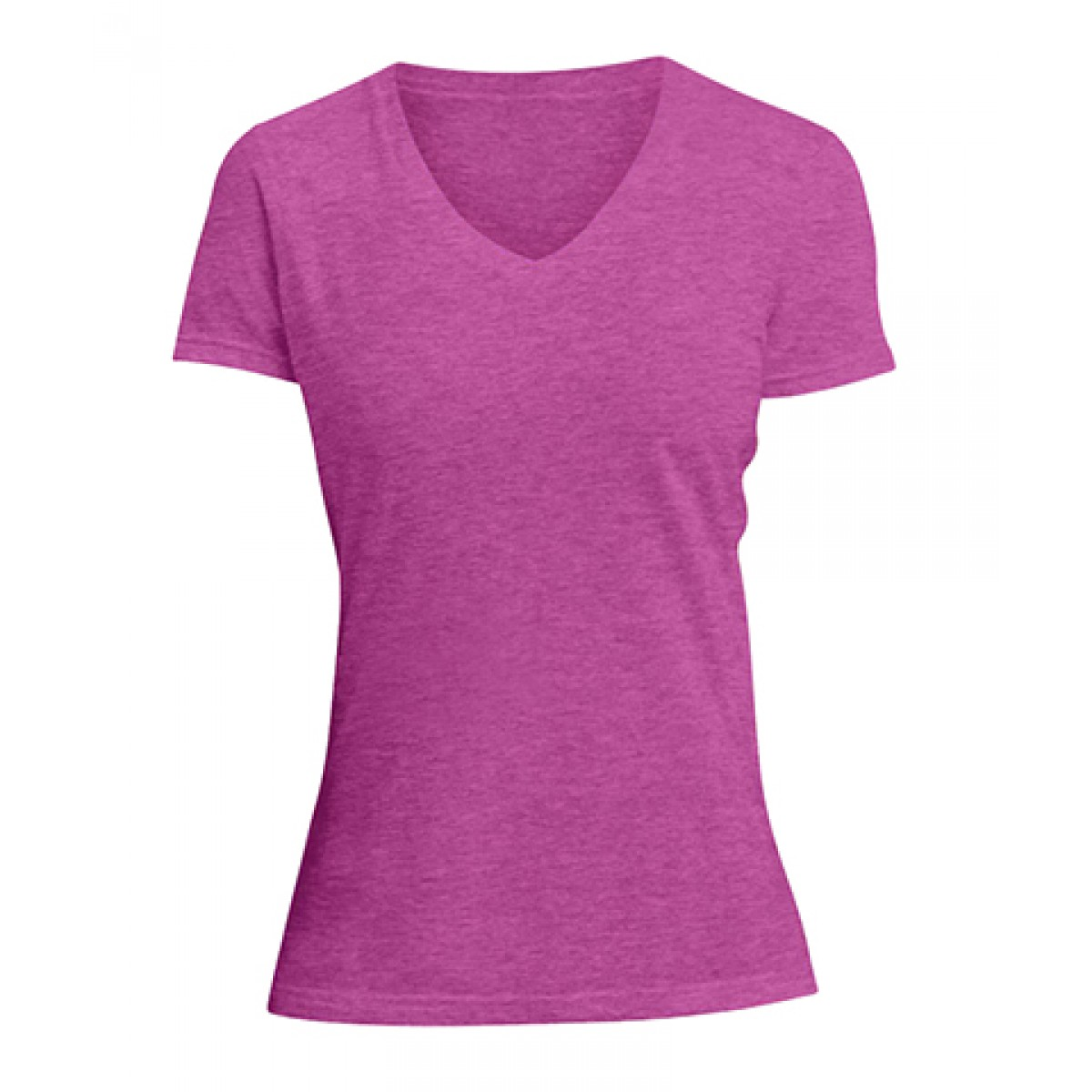 Ladies V-Neck Tee-Heathered Fuscia-L