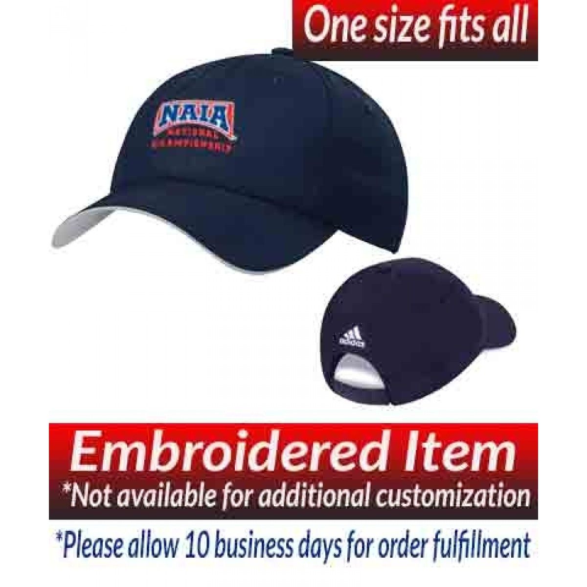 Adidas Performance Max Relaxed Cap Navy with NAIA National Championship Logo