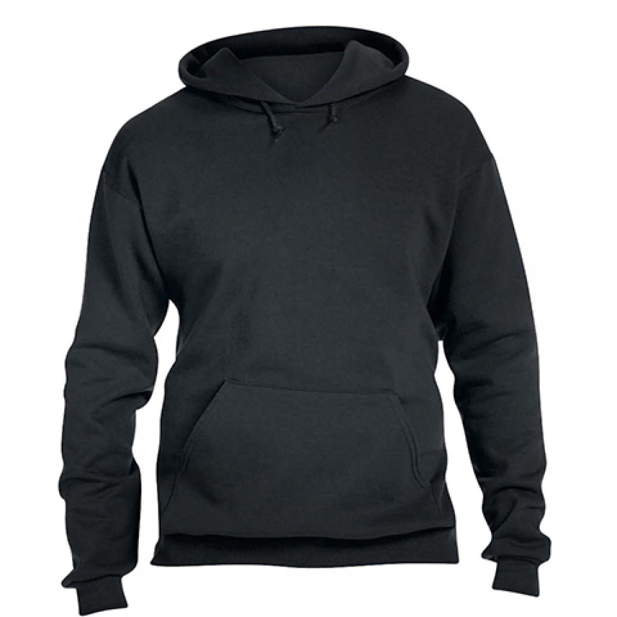 Pullover Hood 50/50 Preshrunk Fleece-Black-L