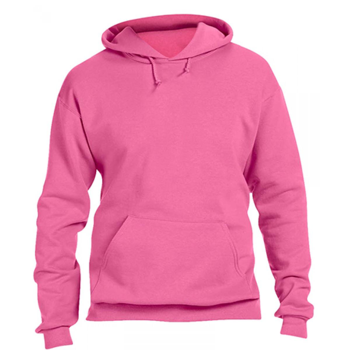 Pullover Hood 50/50 Preshrunk Fleece-Neon-Pink-XL