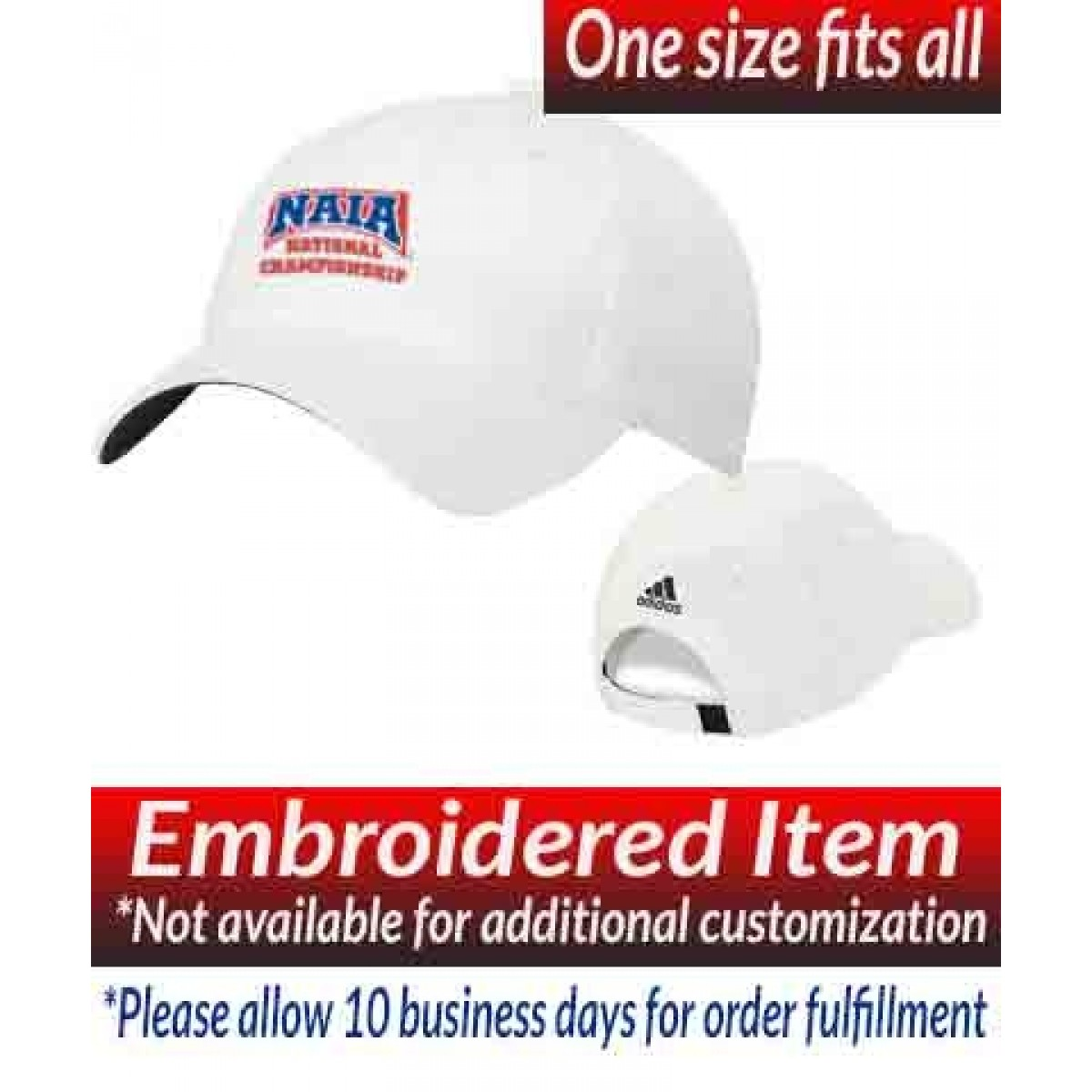 Adidas Performance Max Relaxed Cap White with NAIA National Championship Logo