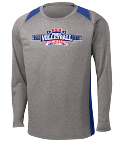Long Sleeve Performance Tee / Gray w/ Royal